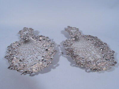 Tiffany Trays - 14667 - Art Nouveau Peacock Pair  American Sterling Silver