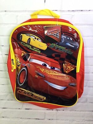 98d0a8c3493 Disney Cars Lightning McQueen Red School Backpack Book Bag Kids Boys Youth  NEW