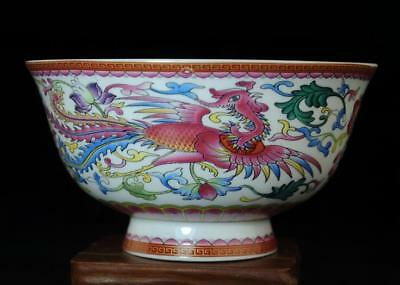 Collection Chinese Hand-Made Famille Rose Porcelain Dragon And Phoenix Bowl B01