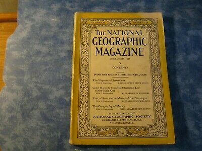 ANTIQUE NATIONAL GEOGRAPHIC December 1927 JERUSALEM PAGEANT Geography of Money
