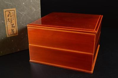 G6268: Japanese Wooden Hida Shunkei lacquer ware FOOD BOXES Jubako Lunch Box