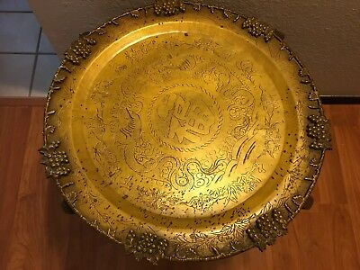 Antique Asian Chinese Engraved Dragon Bats Heavy Brass Trays Rosewood Table