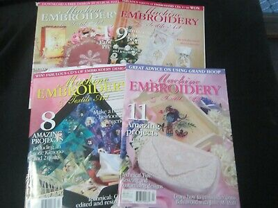 Machine Embroidery & Textile Art Magazines x 4 pattern sheets included