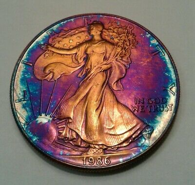 1986   american silver  eagle  with beautiful toning, TONED $
