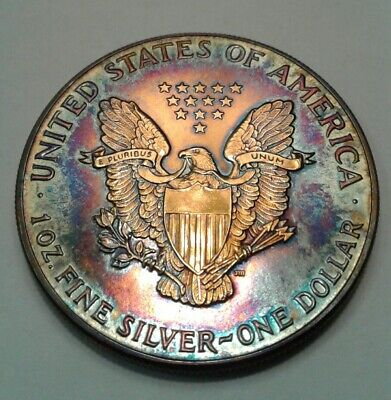 1986   american silver  eagle  with beautiful toning, TONED
