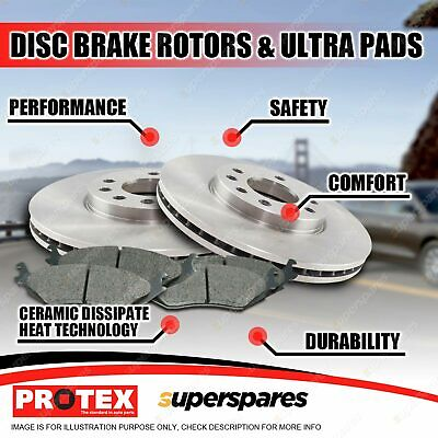 Protex Front Brake Rotors + Ultra Pads for Daihatsu Charade G100 G102 6mm Flange