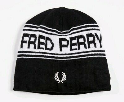 e331b2909 FRED PERRY MEN'S Navy & Red Lambswool Beanie Hat - £29.99 | PicClick UK