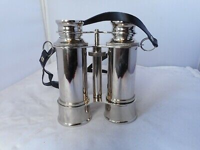 VINTAGE CHROME PLATE BINOCULARS-12.cms long.11.5cms wide and 5cms high