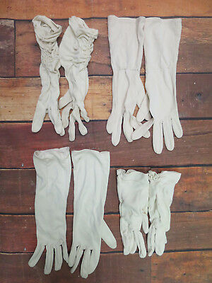 Job Lot Of 12 Pairs Of Mixed Vintage 1950s 1960s Stretch Cream Day Gloves