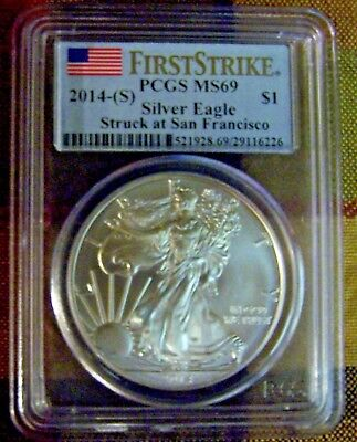 2014-S American Silver Eagle PCGS MS 69 First Strike Flag Label San Francisco