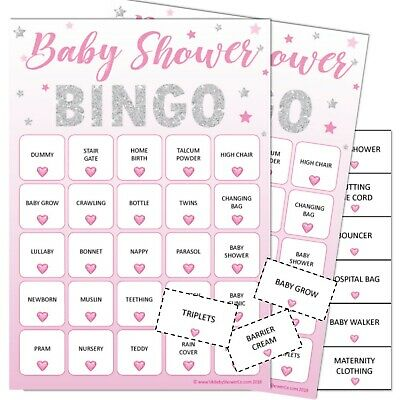 Baby Shower Game 20 Player - BINGO STARS-PINK, Girl, pink stars, games, party