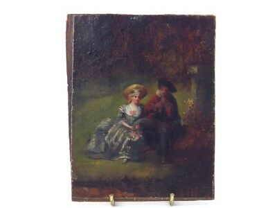 Antique 19th century oil painting on panel portrait of courting couple in garden