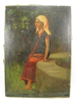 Art Deco oil painting portrait study of an Asian Girl by Theodora St John