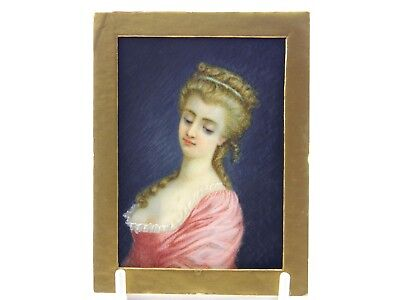 Antique 19th century English School portrait miniature painting of a young lady