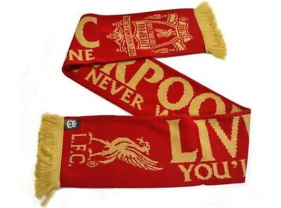 Official Liverpool Football Club Gold Standard Scarf Crest Logo Gold Tassles