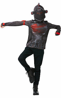 Fortnite Black Knight Costume Top Teen Kids Fancy Dress Outfit Gaming Dressup