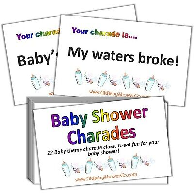 Baby Shower Game, CHARADES- UNISEX, yellow, party game, baby shower, baby