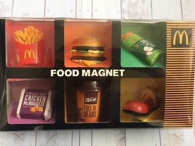 McDonalds Food Magnet 6pcs complete set Japan, Box, French Fries, Burger, Coffee