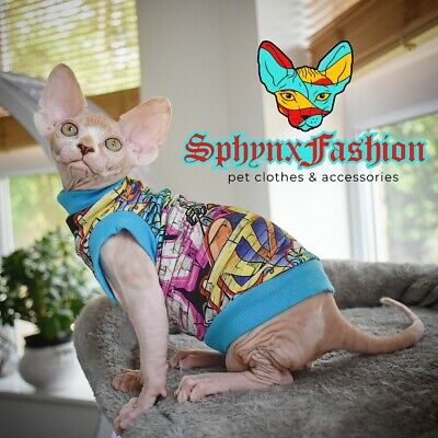 LARGE LONG Sphynx TOP T-shirt Vest Devon Peterbald Pet clothes MANY DESIGNS