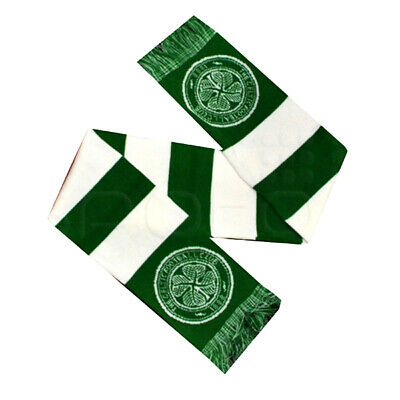 Official Celtic Football Club Scarf Team Crest Colours Green And White Bar Scarf