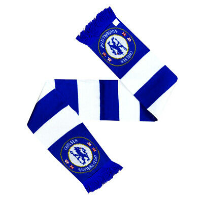 Official Chelsea Football Club Scarf Team Crest Colours Blue And White Bar Scarf