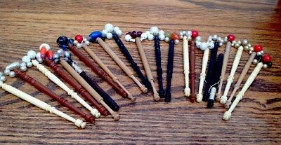 22 Vintage Turned Lace Making Bobbins with spangles £15.99!