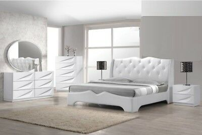 4PC MASTER BEDROOM Furniture Queen Size Bed OffWhite Finish ...