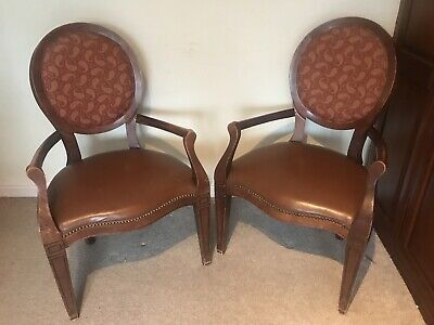 Pair of LOUIS XV STYLE FRENCH ARMCHAIRS/DINING CHAIRS
