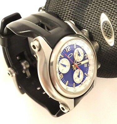 f3f5fde1ab7 Oakley Men s Swiss Made Stainless Holeshot Chrono Watch -Rare Metallic Blue  Dial