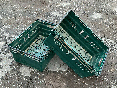 PLASTIC STORAGE CRATES / BOXES 600MM x 400MM x 253MM.  LOT OF 10 CRATES