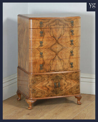 Antique Queen Anne Style Art Deco Burr Walnut Bow Front Tallboy Chest of Drawers
