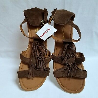 10e55449ea4f A Giannetti Short Gladiator Sandals Size 9 Brown Suede Leather Fringe Trim  New