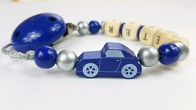 Personalized pacifier clip Binky holder Wood gift Baby boy Car Navy silver