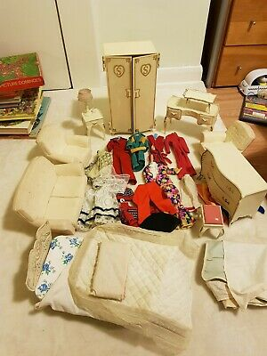 Vintage Sindy Bedroom Furniture Bed Wardrobe, Dressing, chairs, table & clothes