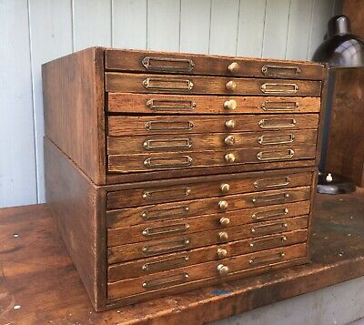 2 Vintage Rustic Oak Wood Engineers Chest Drawers Haberdashery Coin Collectables