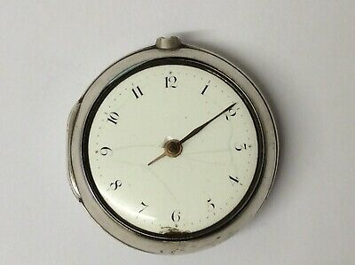Silver Verge Fusee Pair Cased Pocket Watch, London/Liverpool 1800, Running