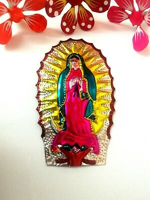 Authentic Mexican Tin Folk Art Colourful Virgin of Guadalupe/ Protection
