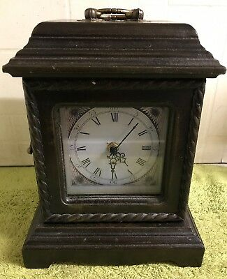 Vintage Wooden Mantle Clock With Drawers Inside