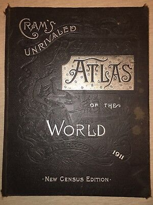 Cram's unrivaled atlas of the World, 1911, New Census Edition Above Average