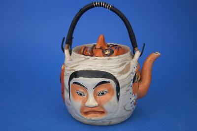 JAPANESE c1910 BANKO WARE 5 Character Faces TEAPOT  Impressed Mark vgc