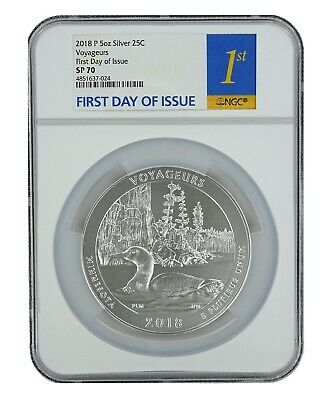 2018 P Voyageurs National Park 5oz Silver Coin NGC SP70 - First Day Issue