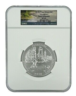 2018 P Voyageurs National Park 5oz Silver Coin NGC SP69 - Early Releases