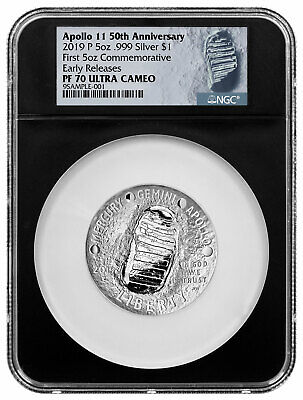 2019 P Apollo 11 50th Commem 5 oz Silver Dollar NGC PF70 ER Black Core SKU57117