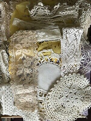 Large Lot 1 FULL BOX OF French Handmade ANTIQUE LACES, Bobbin, crochet, Filet