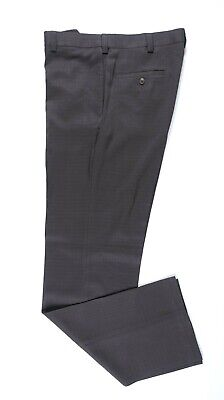 Haggar Straight Fit Micro Two Tone Brown Plaid Flat Front Dress Pants 34x34