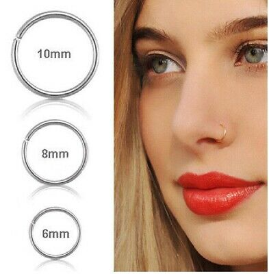 Surgical Steel Thin Small Silver Nose Ring Hoop 0.8mm Cartilage Piercing Stud uk