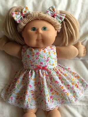 "DOLLS CLOTHES - DRESS & BOWS to fit 16"" CABBAGE PATCH ~ Small Pink/orange Flower"