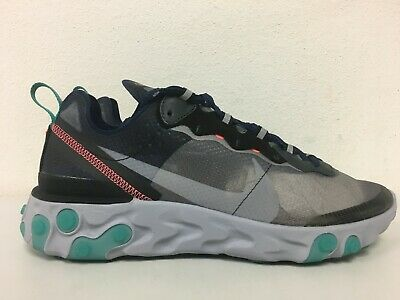 outlet store b22a2 93c37 Nike React Element 87 Neptune Green Black Midnight Navy AQ1090 005 Mens Size  9