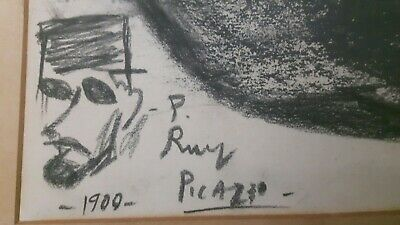Pablo Picasso Original vintage old art rare drawing hand Signed 1900 Not a print