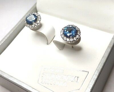 Kiera Couture Sterling Silver 10mm Blue Swarovski Crystal White Halo Earrings